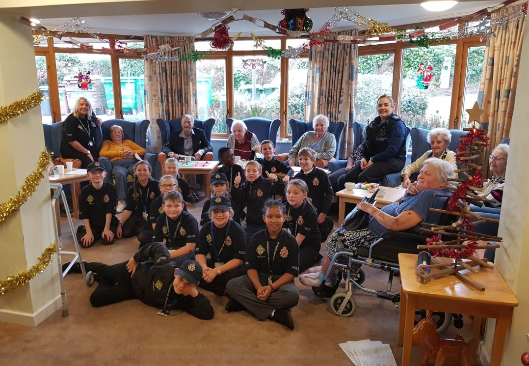 The mini Police visit Southlands Care Home